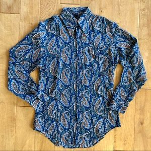 Vintage 1970's Sears Paisley Point Collar Shirt M